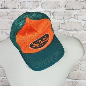 Y2K Von Dutch Trucker Hat Snapback Embroidered Logo Patch Green Orange